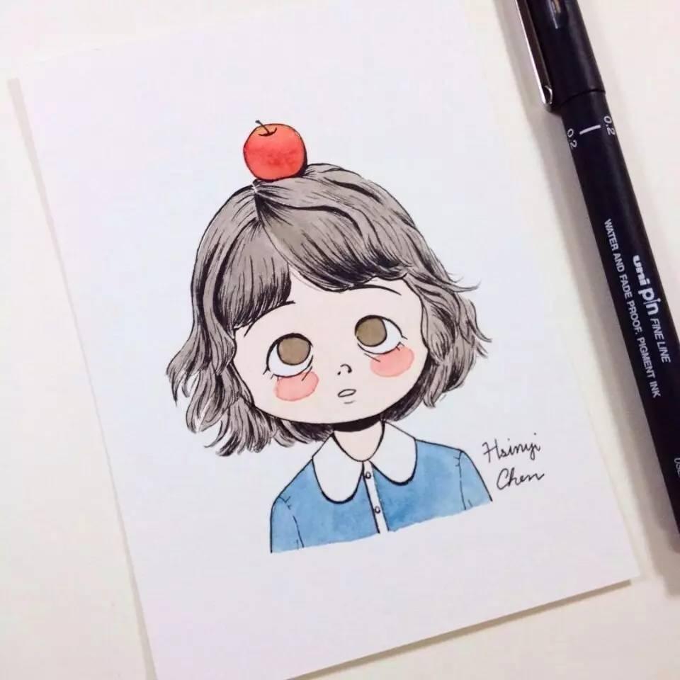 手账简笔画素材 | hsinyi chen笔下的萌萌哒女孩