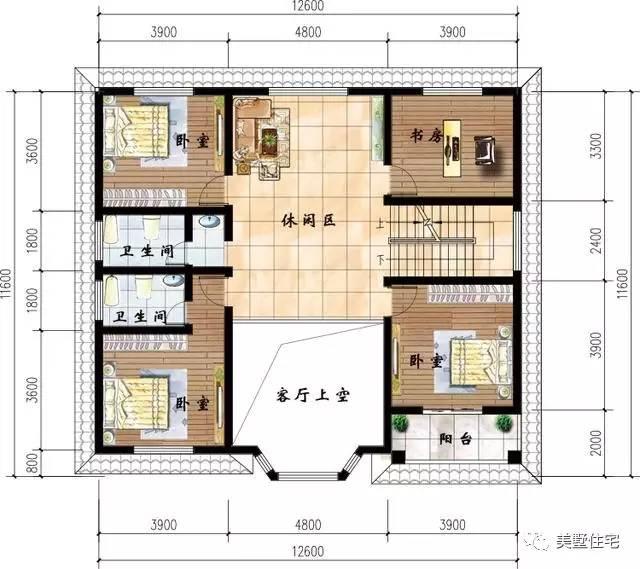12x11米农村小别墅,带堂屋中空客厅,浓浓的农村