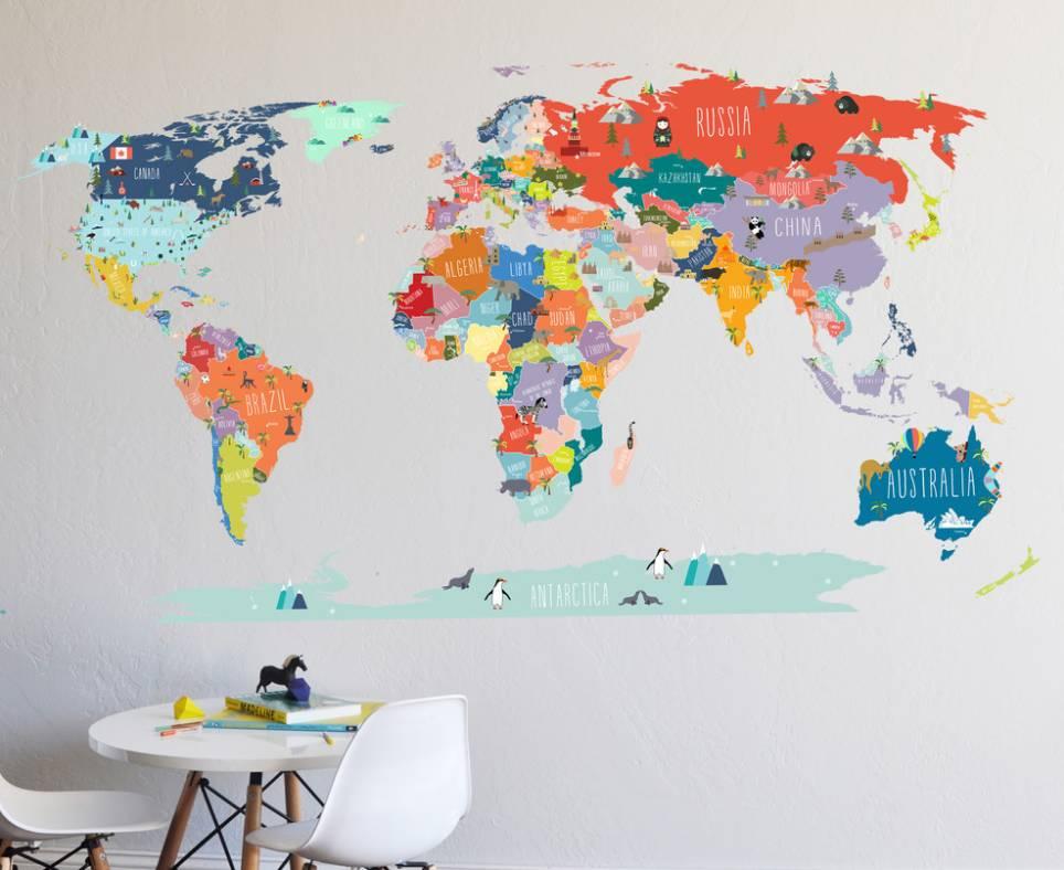 多彩的手绘世界地图