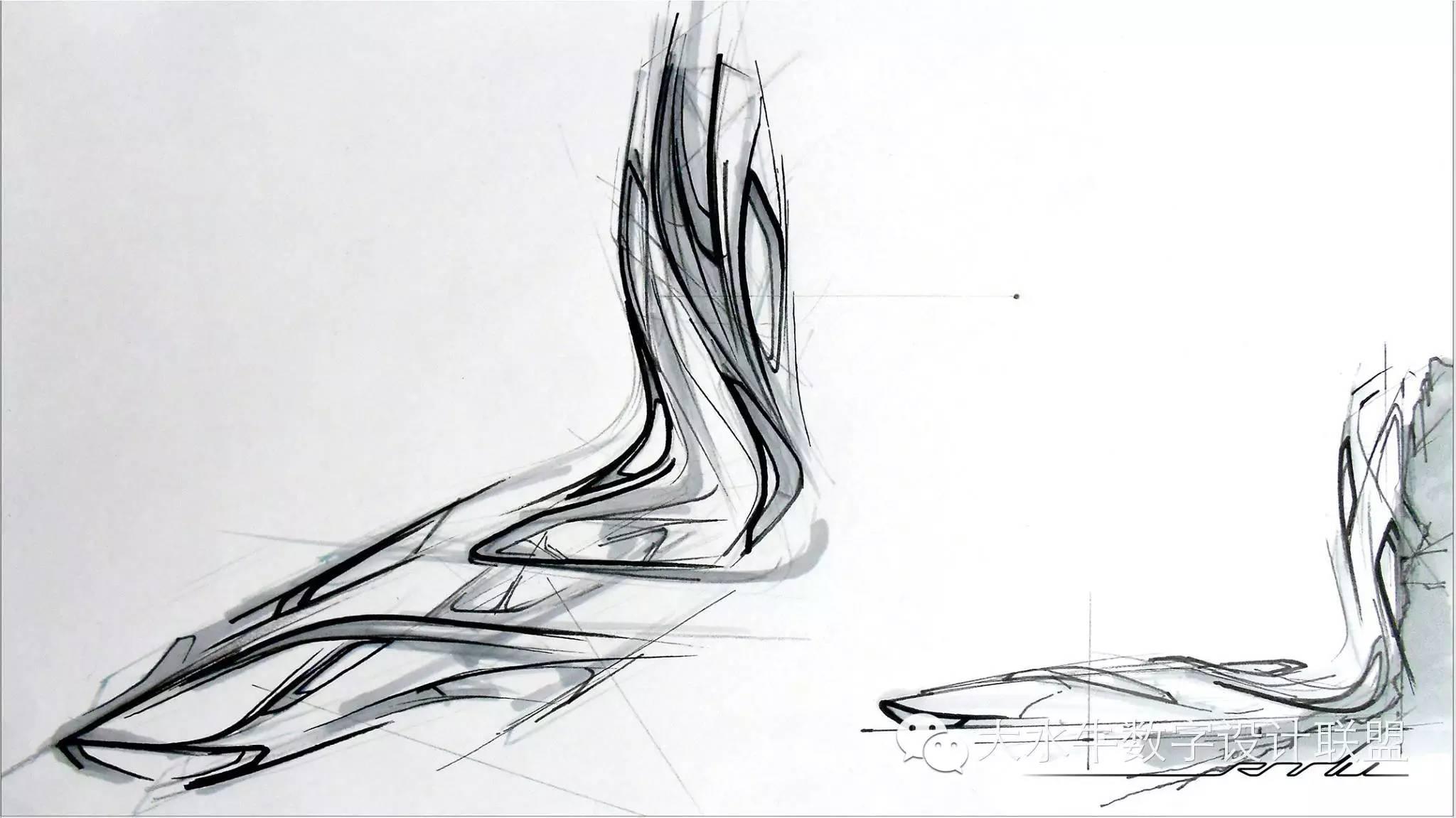 先用简单的手绘表达仿生对象的形态,再慢慢把线条建筑化,该直的地方直