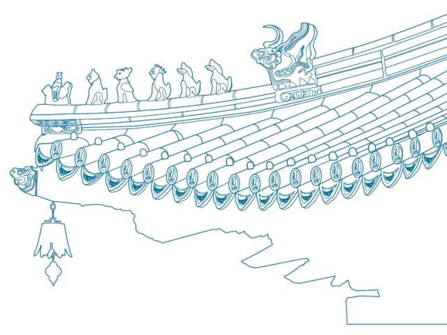 手绘古代f房屋照片