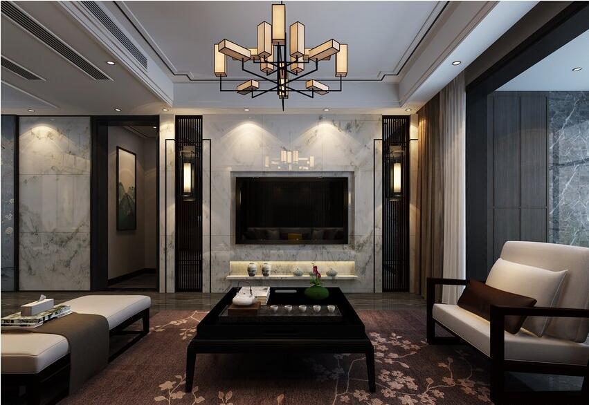 南阳180平新中式风格,低调优雅的设计---电视背景墙图片