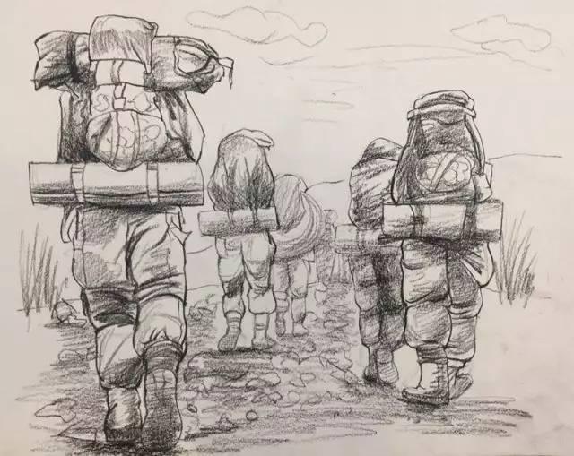 手绘现代军人背影图