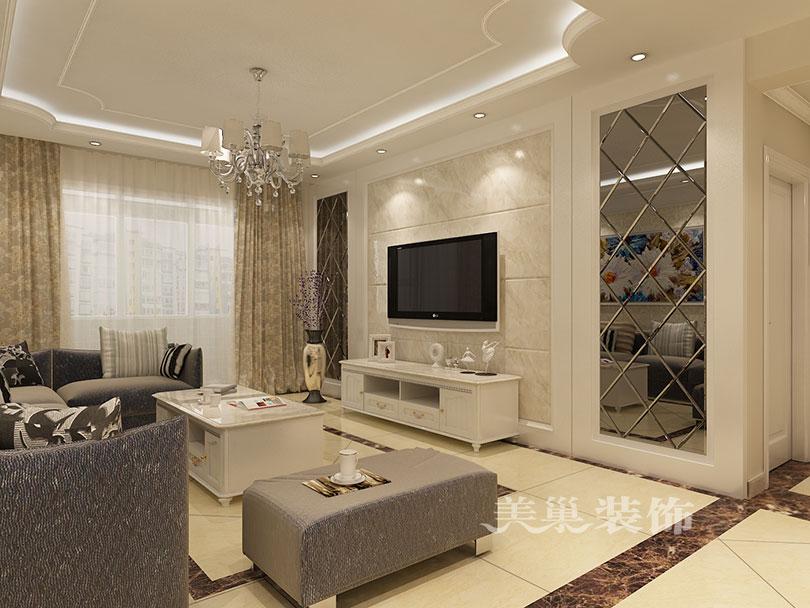 郑州升龙城5号院装修132平三房,简欧电视背景墙