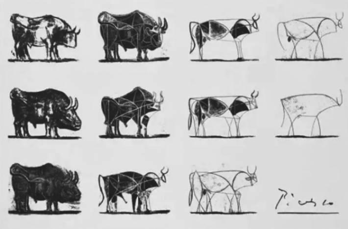 《公牛》(毕加索)自上而下,从左至右依次是毕加索在3年之内对其画作的