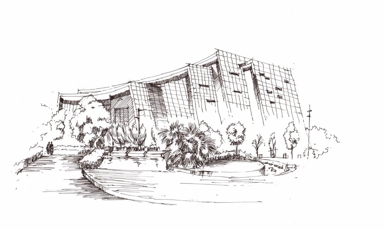 规班的学员从建筑单体线稿到整体环境线稿,再到马克笔上色效果的作品.