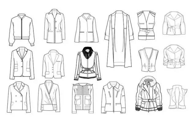 (1)服装款式图要符合人体结构比例,例如肩宽,衣长,袖长之间的比例等.