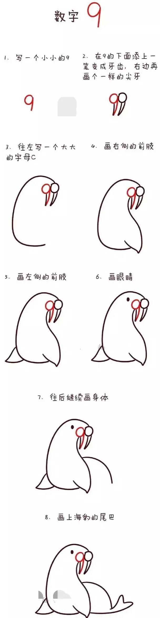 幼儿数字简笔画~1到10的简笔画流程