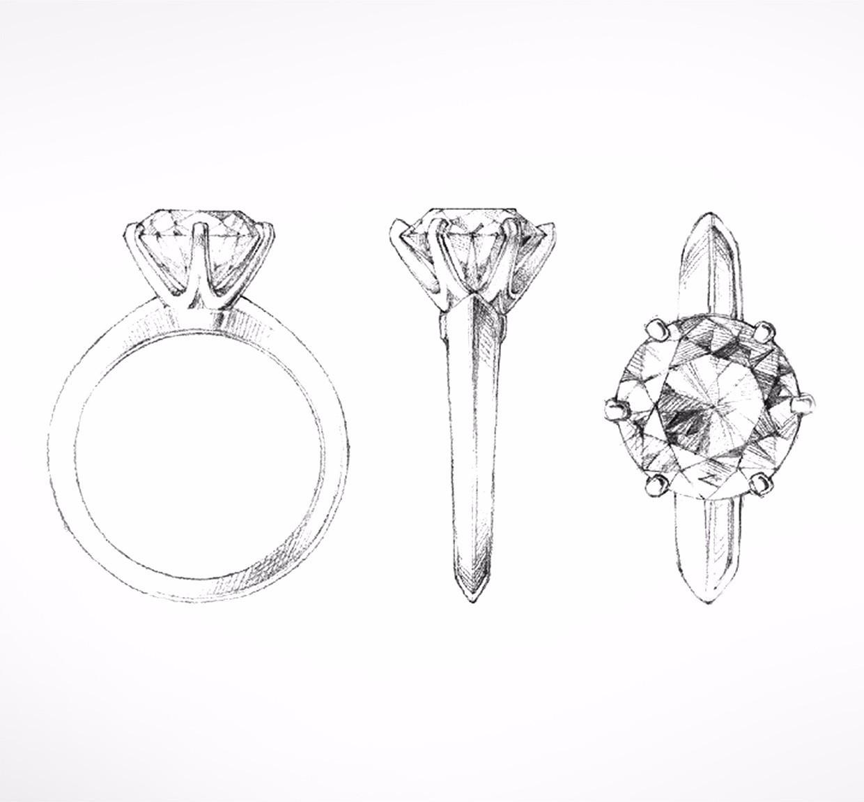 首款订婚戒指设计手绘图 2000年的《欲望都市》中, 在tiffany第五大道