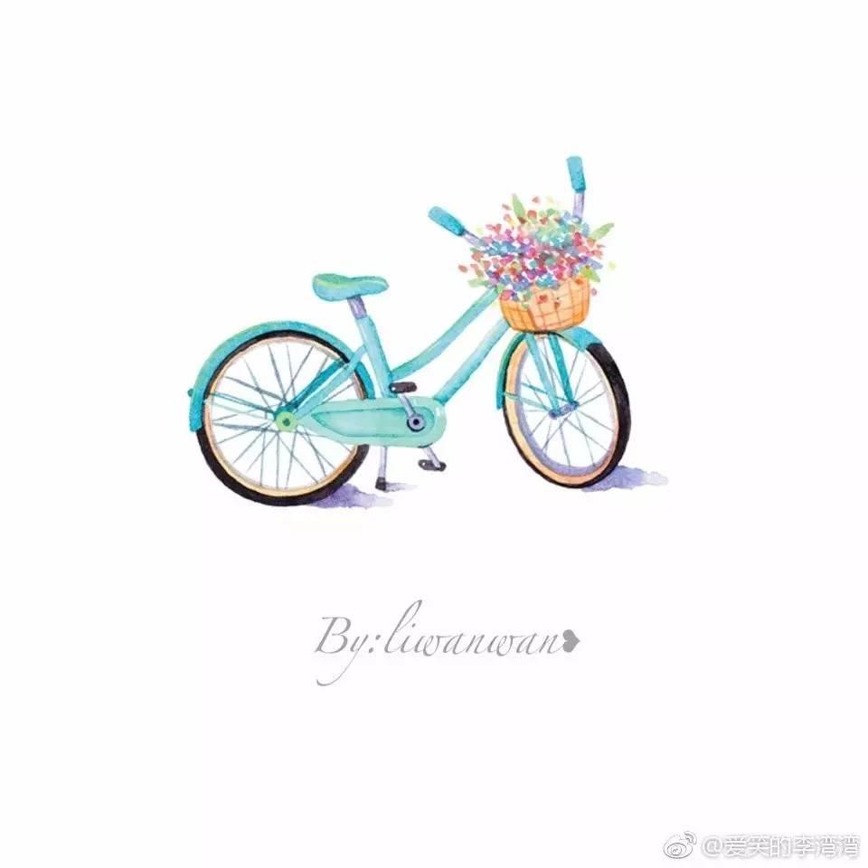 手账简笔画素材 | 单车和旅行(爱笑的李湾湾)