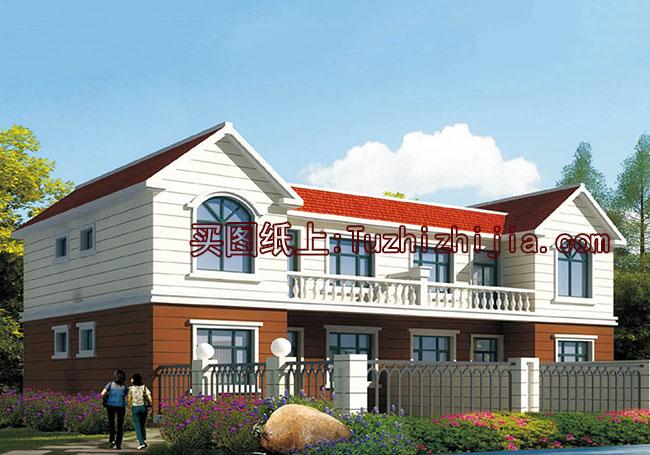 适合农村自建的二层双拼别墅设计方案-造价30多万