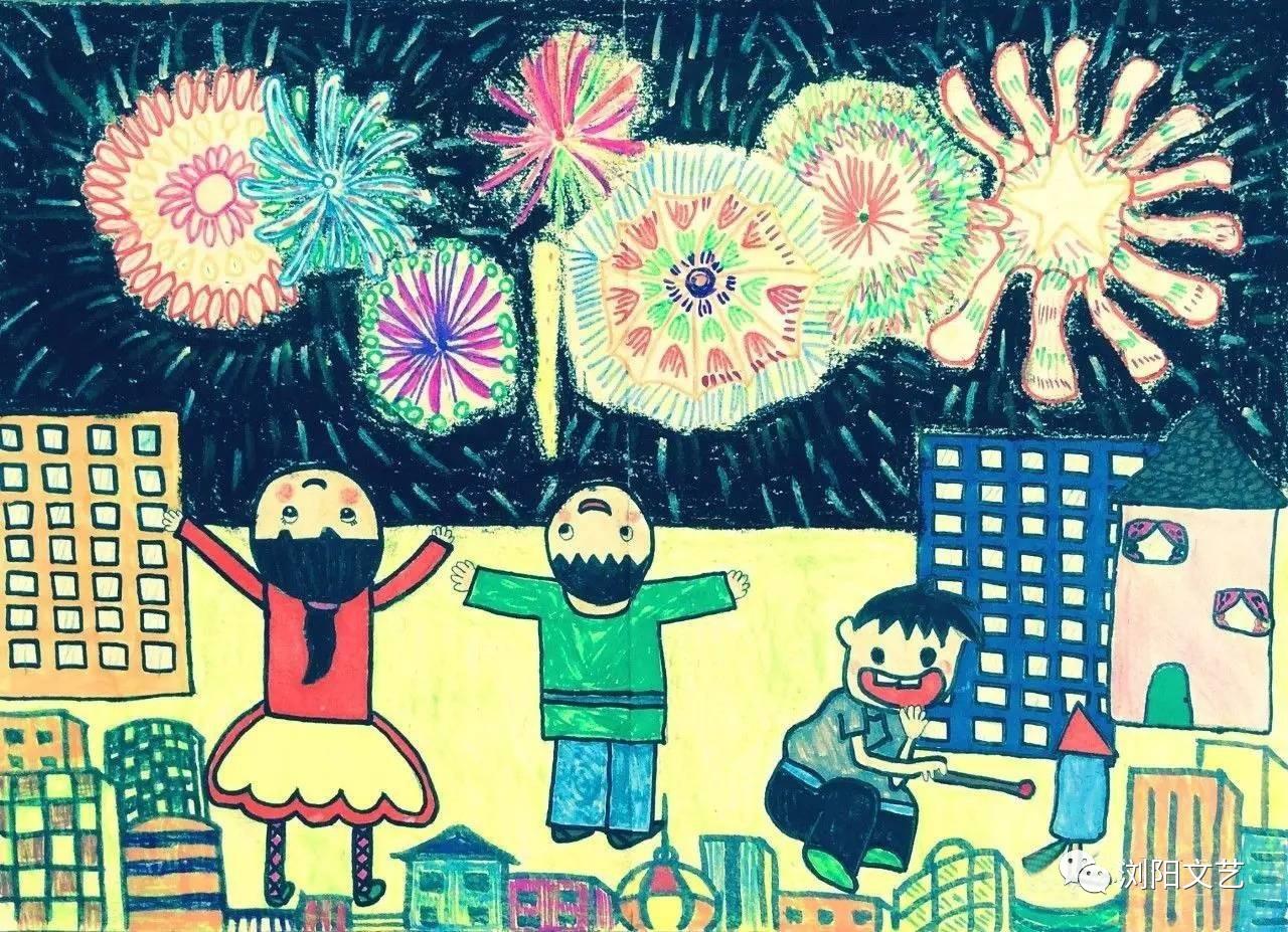 """儿童画:""""花炮之乡""""的日常生活图片"""