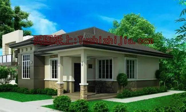 现代一层(带闷顶)别墅住宅设计图,外观超时尚!