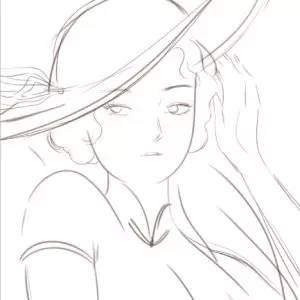 旗袍手绘女子线稿
