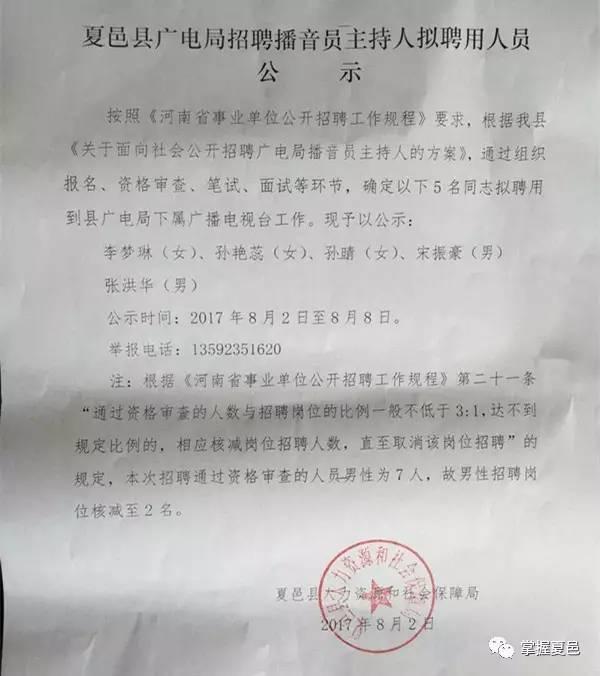 夏邑县广电局招聘播音员主持人拟聘用人员公示