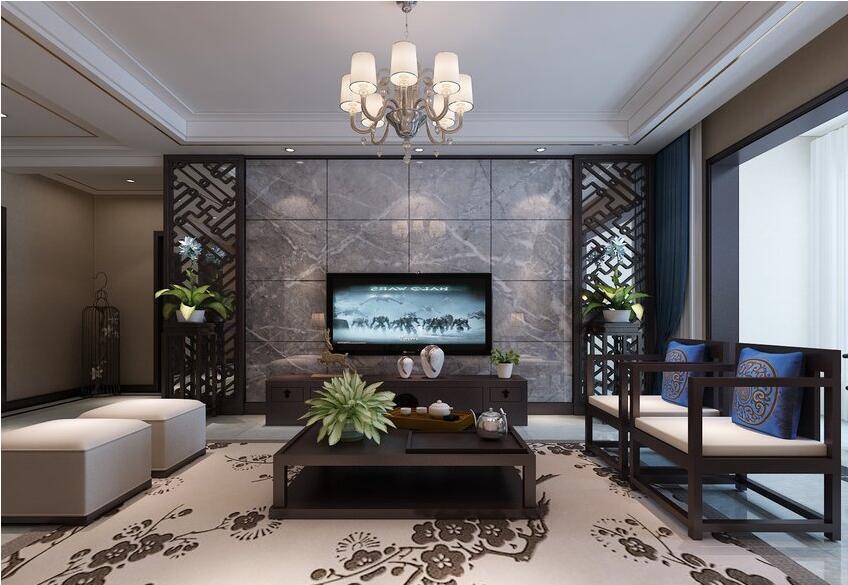 135平新中式风格,古朴纯美中透漏出静谧的诗意---电视背景墙图片