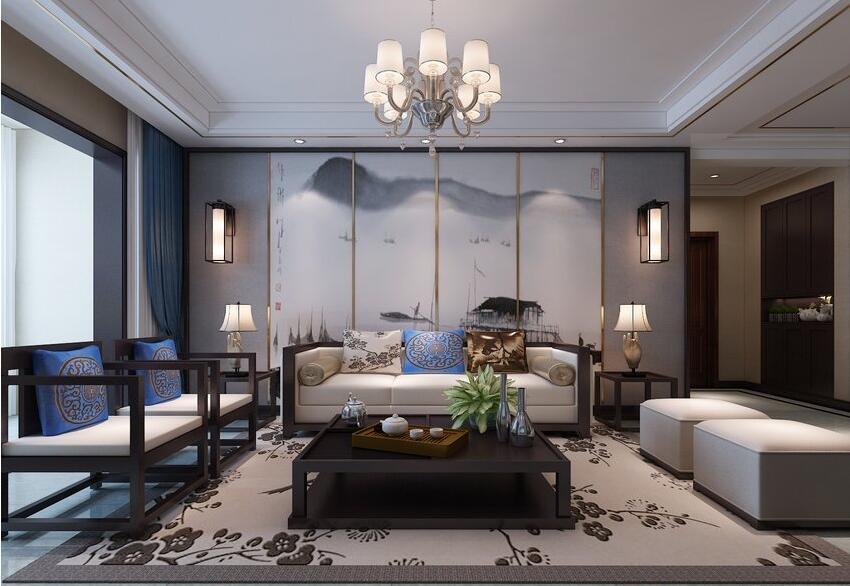 135平新中式风格,古朴纯美中透漏出静谧的诗意---沙发背景墙