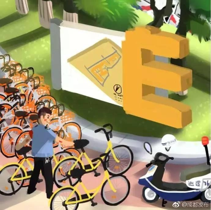 妹子方盈盈手绘q版的成都,有菁蓉国际广场上的绣球花,路边的共享单车