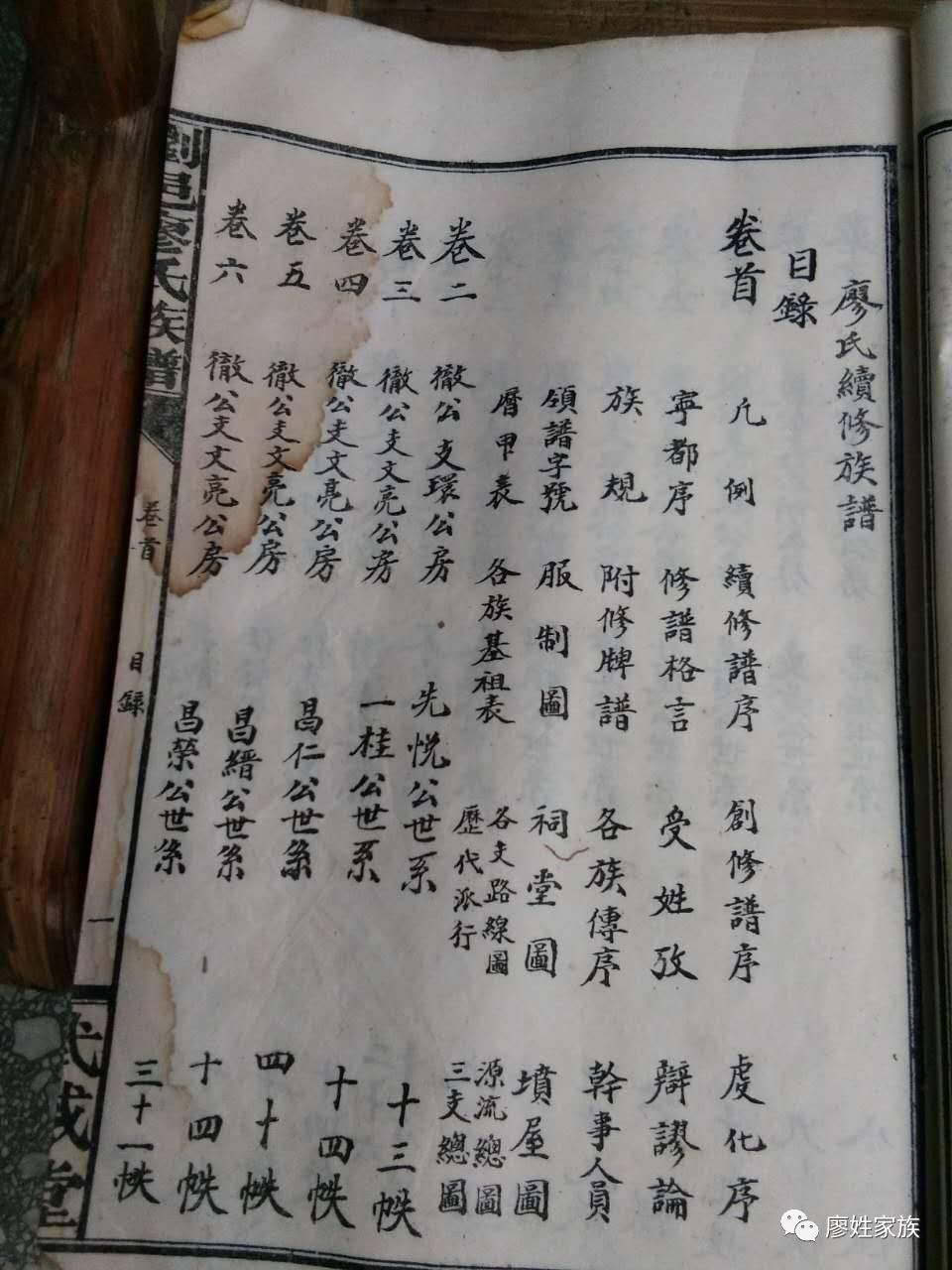 湖南廖氏花公系族谱图片