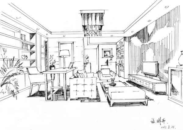 3,两点透视空间的讲解与练习 单体练习 1,室内家具和陈设单体线描练习