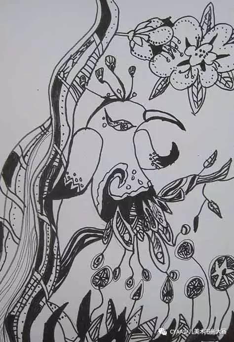 简便彩铅孔雀手绘