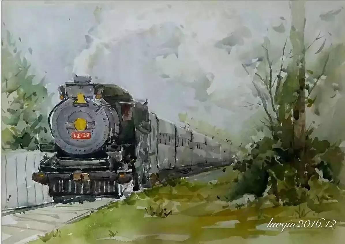 绿皮火车手绘水彩