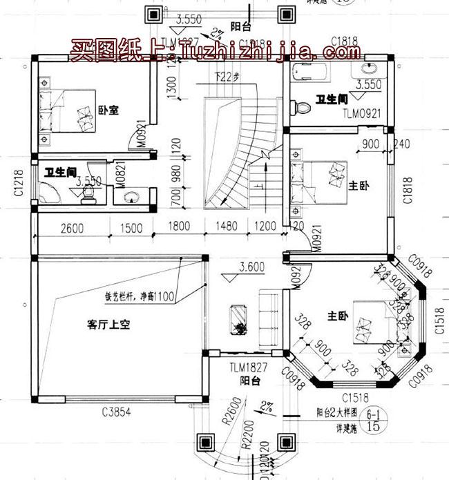 经典气派-三层别墅设计图带旋转楼梯,户型很好!