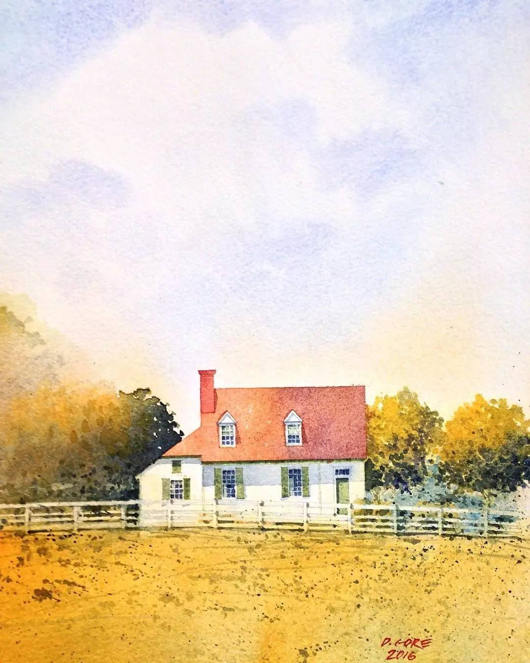 海边五彩房子手绘