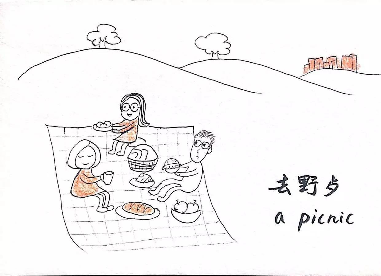 野餐简笔画图片大全