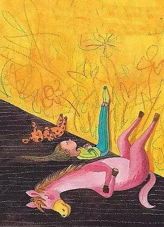 漫画天鹅 小孩 手绘