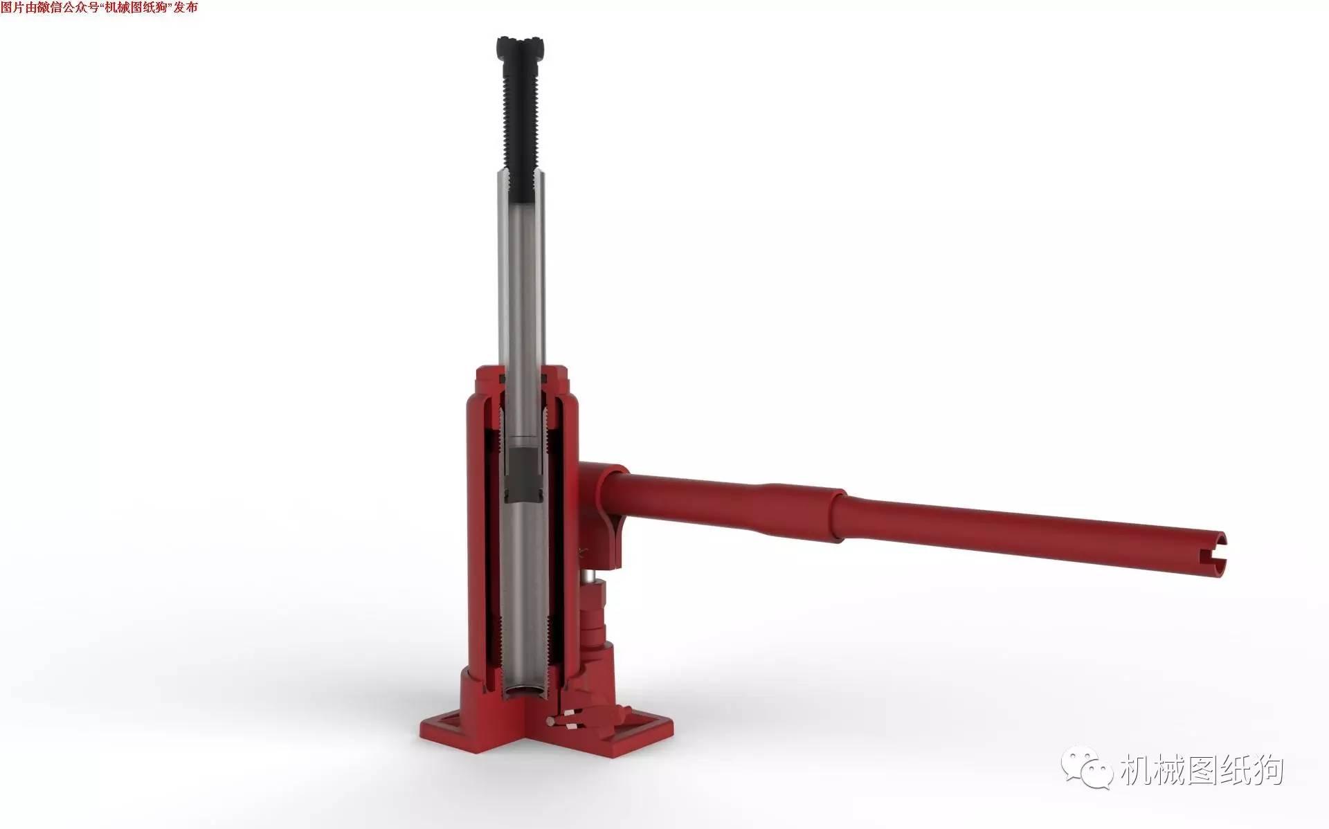【工程机械】3吨液压瓶式千斤顶3d模型图纸 solidworks设计 附x_t格式图片