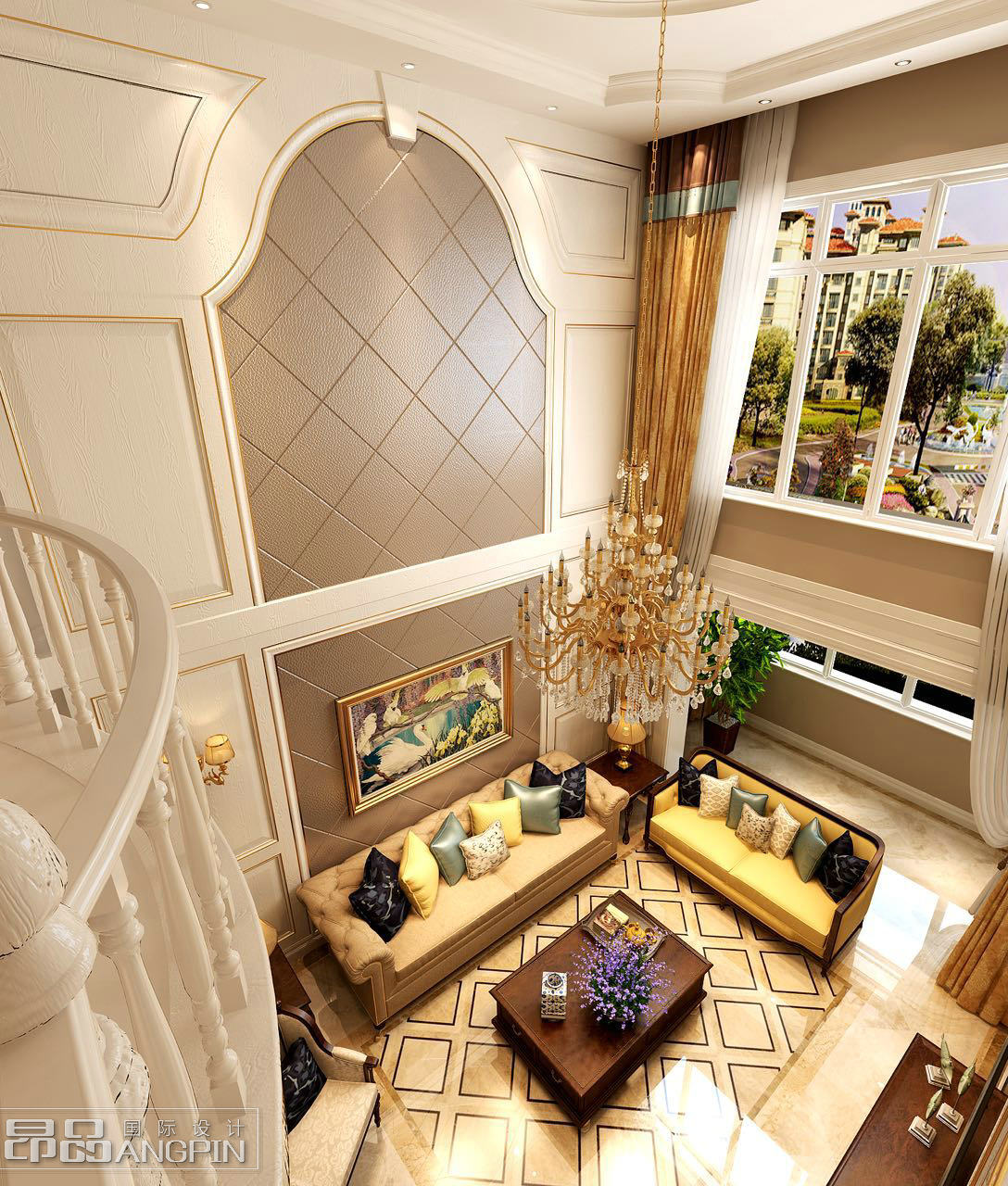 户型:双拼别墅 面积:400平米 风格:欧式,美式 挑空的客厅总是给人一种
