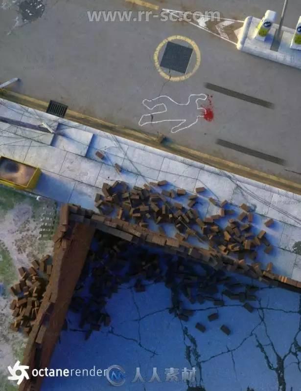 美的地震灾难后城市街道场景环境3D模型合辑图片