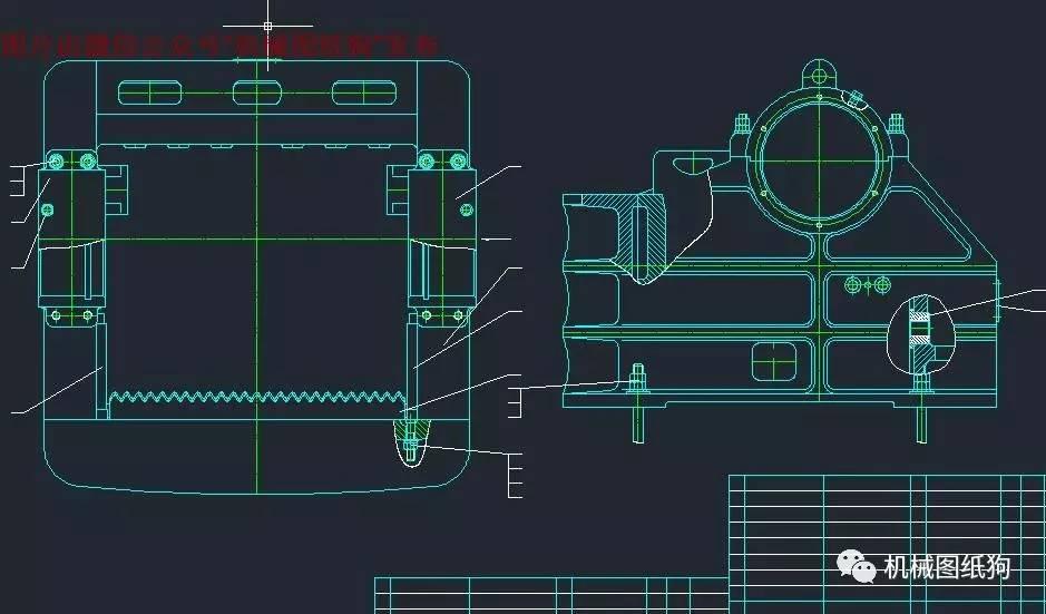【工程机械】150x750颚式破碎机设计参考cad图纸 dwg图片