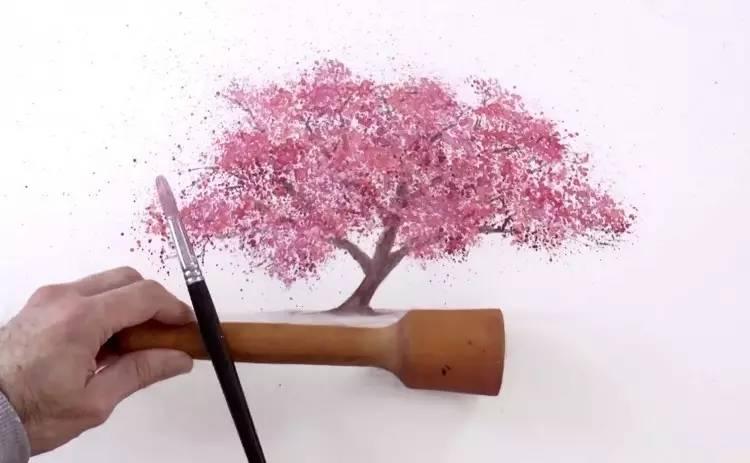 超级简单又好看,7步教你画一棵盛放的樱花树