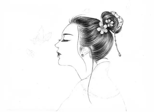 古风动漫女生铅笔手绘