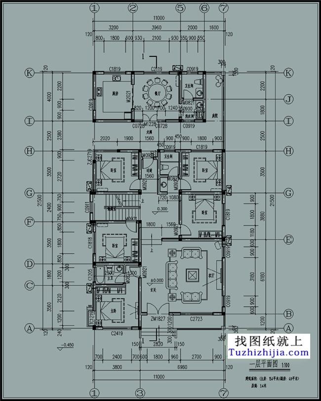 30张a3图纸 3张a4彩色效果图 设计功能: 一层:客厅,卧室x5,卫生间x2图片
