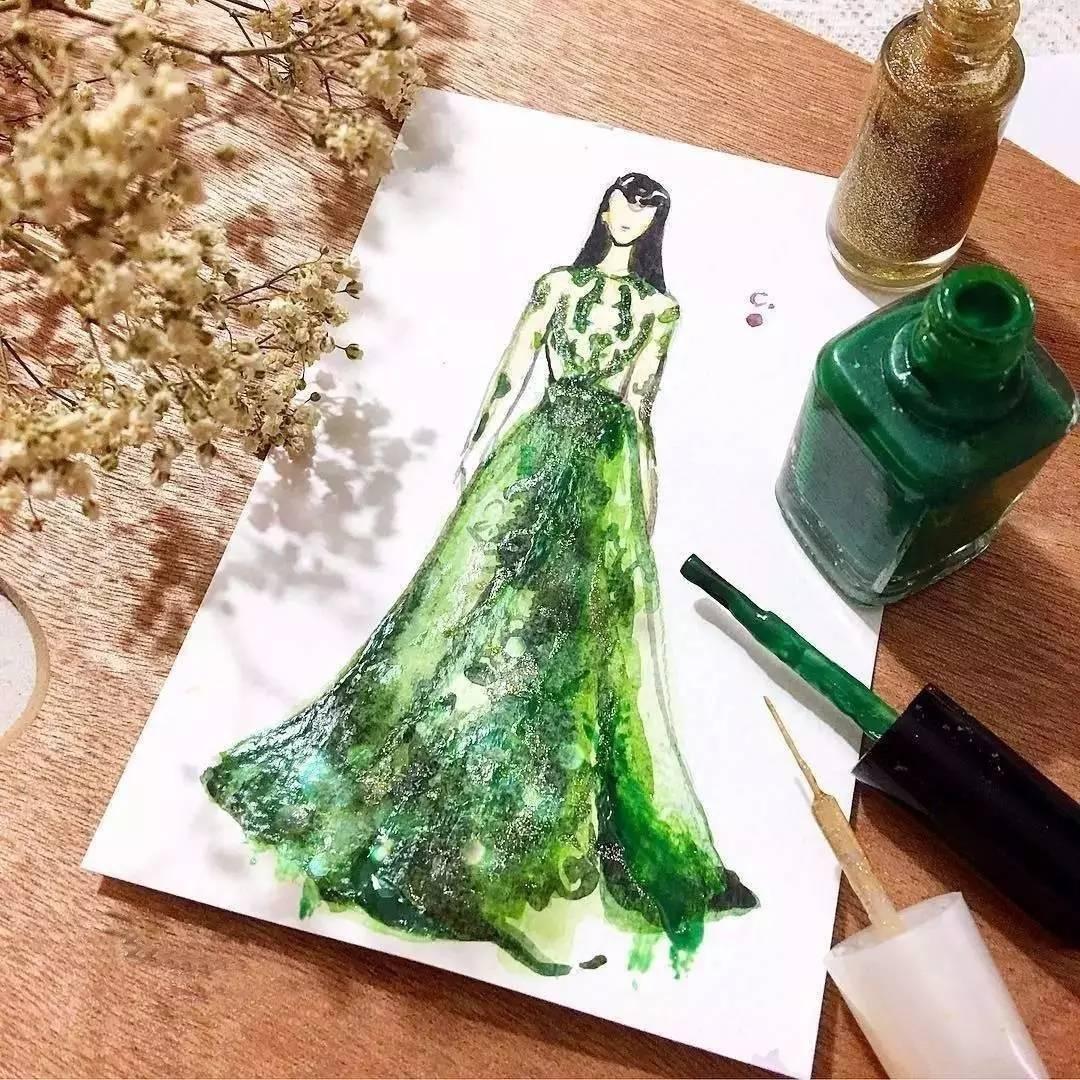 谁还没有个少女梦 她用口红 指甲油画出世界上最美的裙子