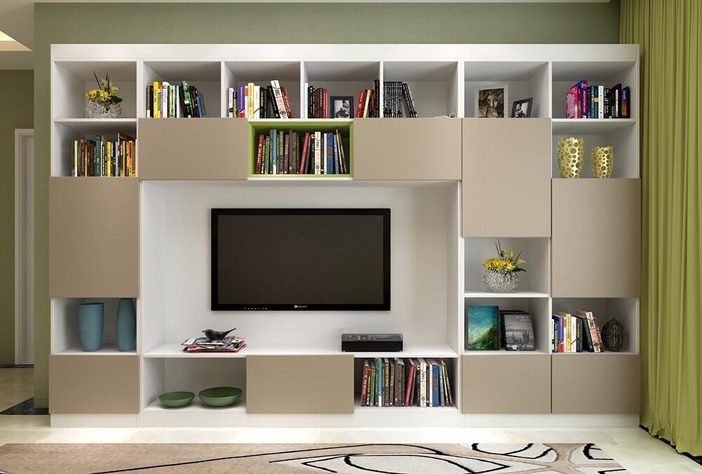 满墙的电视柜设计要将电视机摆放位置预留还,规划出足够的空间才能看