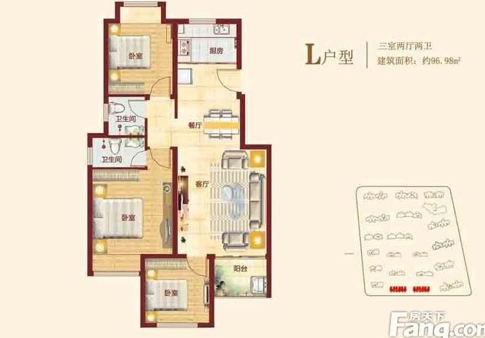 浩创梧桐郡98平方三室两厅装修现代简约设计图