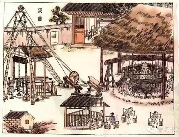 古代榨油矢量图
