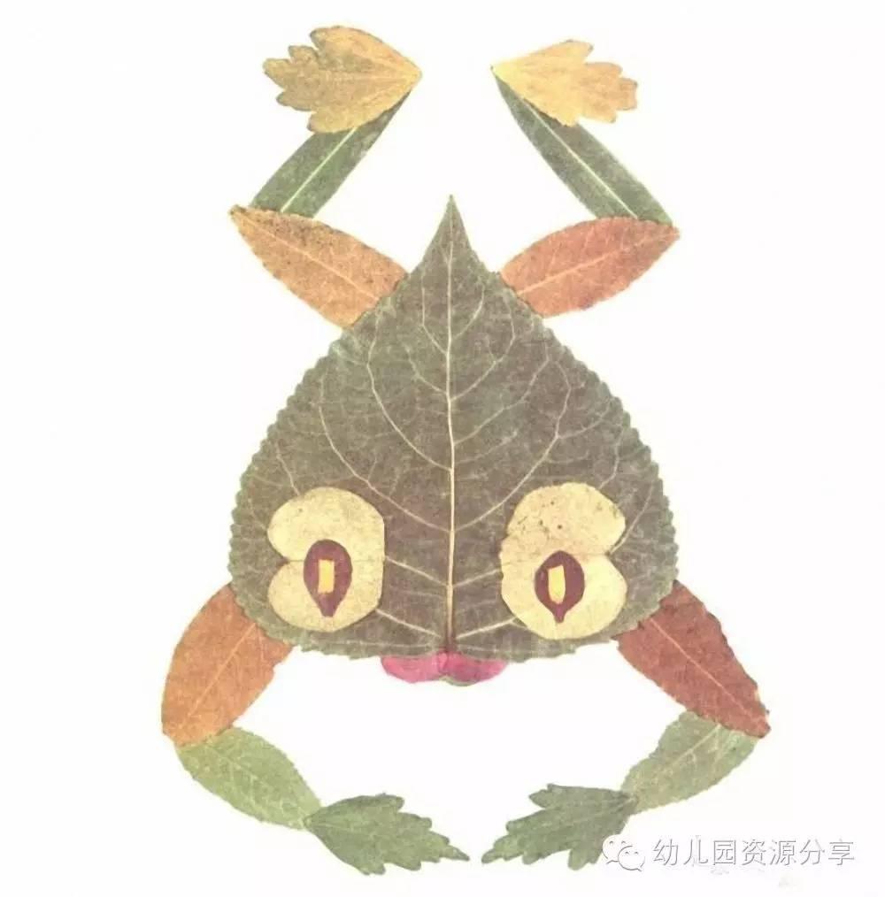 秋季树叶粘贴画之动物篇图片