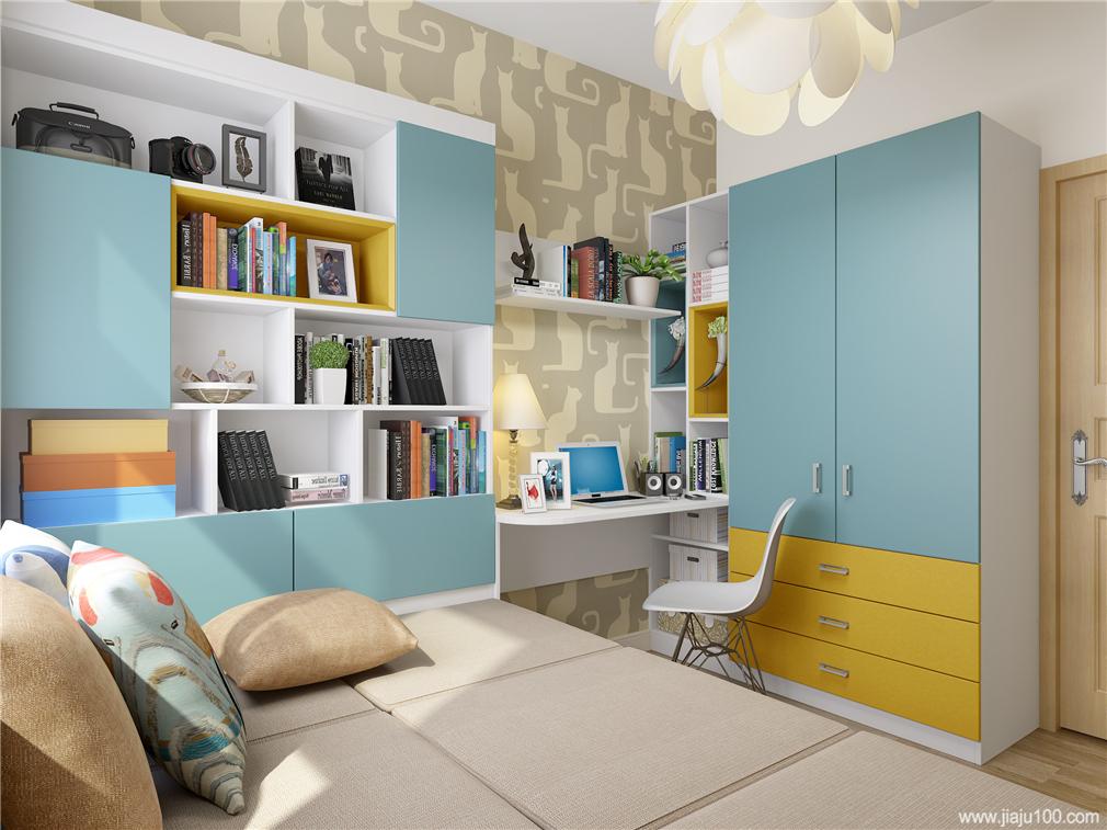 转角书桌还能这样玩, 将榻榻米组合柜设计成书柜, 与书桌完成学习区