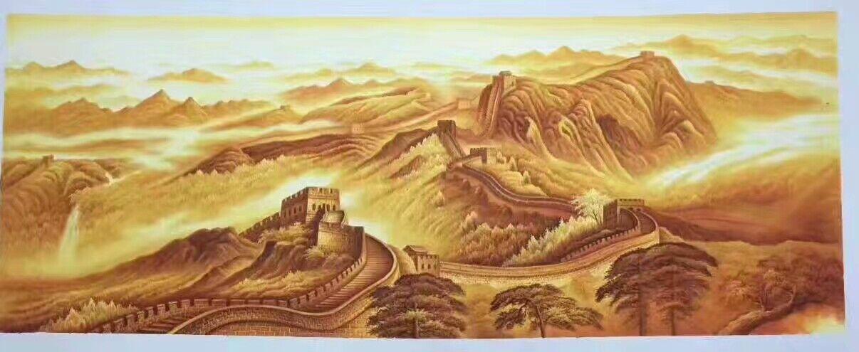 万里长城国画背有靠山基业永固