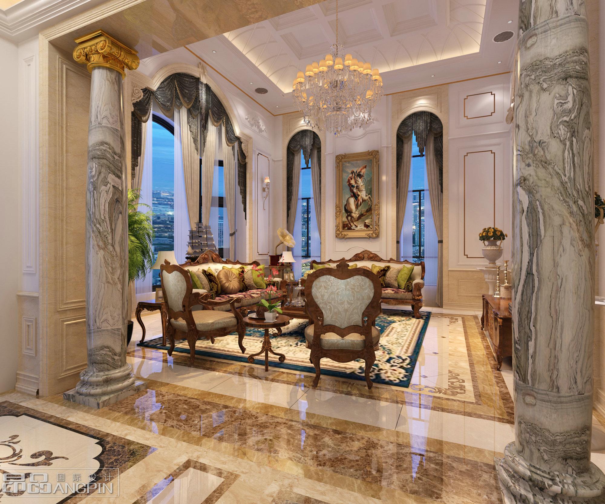400平米 风格:法式风格 设计:昂品国际设计             阳别墅装修图片