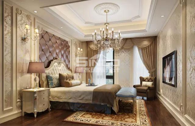 主卧通过古典简约家具,水晶灯搭配营造出欧式特有的磅礴,厚重,优雅感.