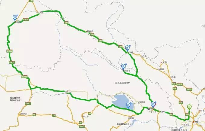 北京到甘肃地图