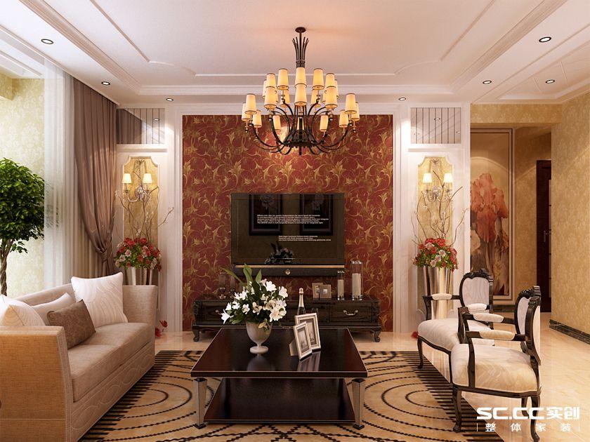 花纹的壁纸与整体黄色调的搭配银丰故里三居室