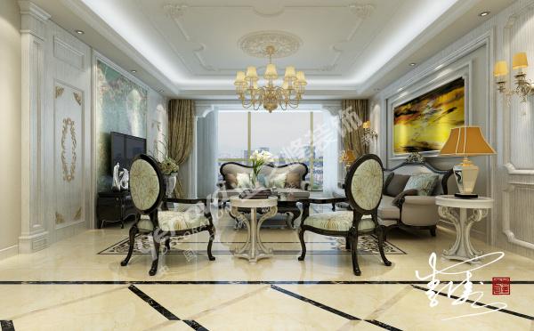 客厅沙发背景一致,选用了亮黄色艺术画,优雅的餐桌椅与地砖波打线搭配