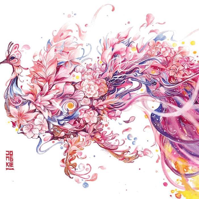 充满魔法色彩的手绘水彩动物插画 在画遍各种颜料后他被水彩深深的